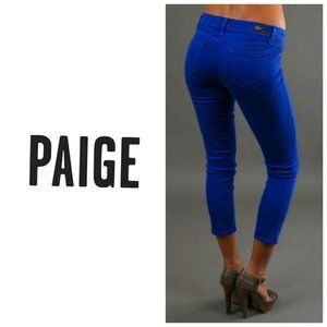 PAIGE Cropped Cobalt Blue Skinny Jeans